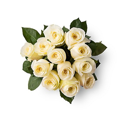 Roses White Stems - 12 Count