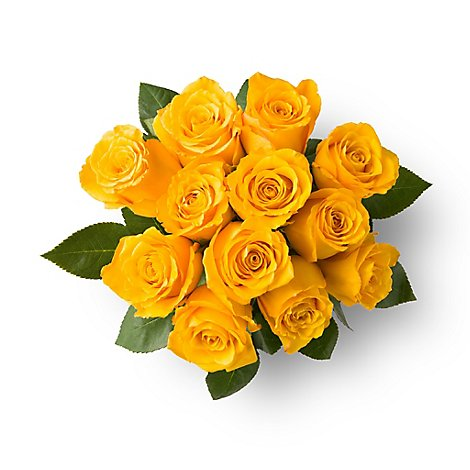 Roses Yellow Orange Stems - 12 Count