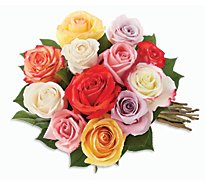 Rainbow Roses Stems - 12 Count