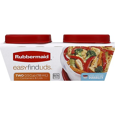 Rubbermaid Easy Find Lids Containers 0.5 Cups - 2 Count