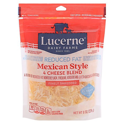 Lucerne Cheese Finely Shredded Mexican Style 4 Cheese Blend Reduced Fat - 8 Oz