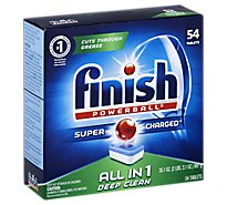 Finish Dishwasher Detergent Powerball All In 1 Tablets Fresh Scent 54 Count - 35.1 Oz