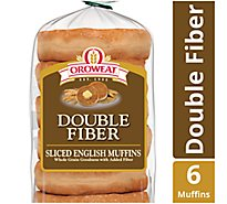 Oroweat English Muffins Double Fiber 6 Count - 12.5 Oz