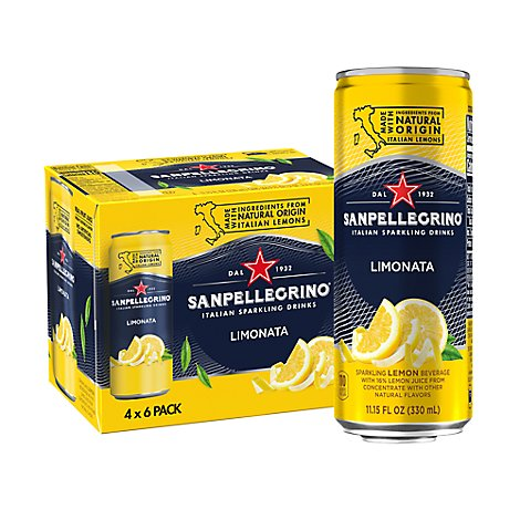 SANPELLEGRINO Sparkling Fruit Beverage Lemon - 6-11.15 Fl. Oz.