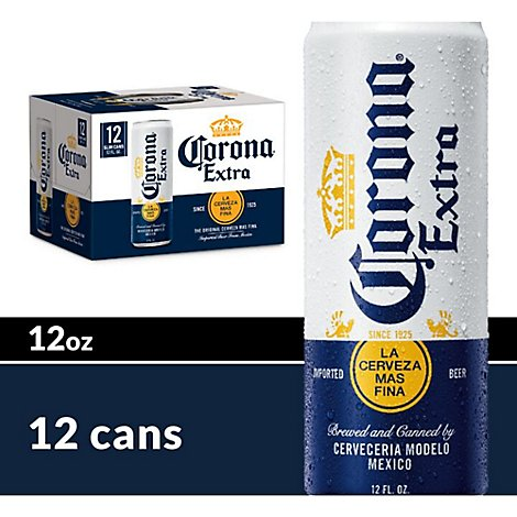 Corona Extra Beer Mexican Lager 4.6% ABV Cans - 12-12 Fl. Oz.