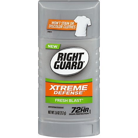 Right Guard Xtreme Defense 5 Deodorant Antiperspirant Fresh Blast Invisible Solid - 2.6 Oz