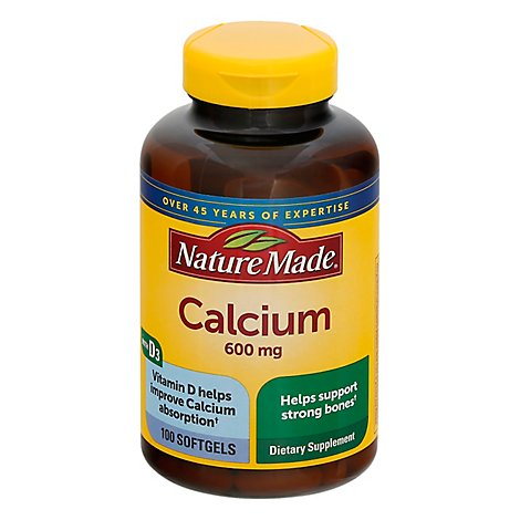Nature Made Dietary Supplement Softgels Minerals Calcium 600 mg - 100 Count