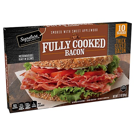 Signature SELECT Fully Cooked Bacon Thick Sliced Smoked With Sweet Applewood - 2.1 Oz