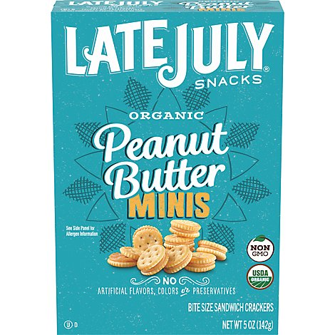 Late July Crackers Organic Mini Bite Size Sandwich Peanut Butter - 5 Oz