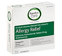 Signature Care Allergy Relief Cetirizine Hydrochloride 10mg Antihistamine Tablet - 14 Count
