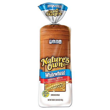 Natures Own Whitewheat Round Top Bread - 20 Oz