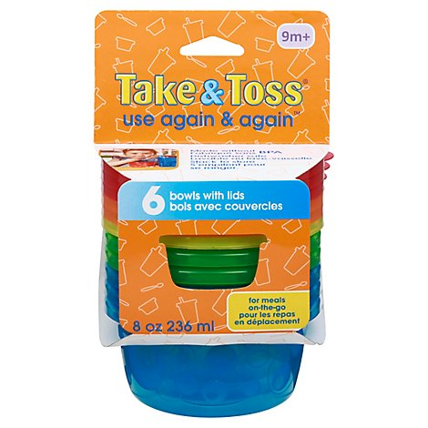 Learning Curve Bowls & Lids Take & Toss 8 Oz - 6 Count