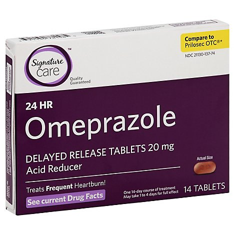 Signature Care Omeprazole Acid Reducer Delayed Release 20mg Tablet - 14 Count