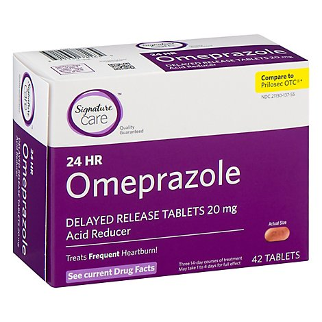 Signature Care Omeprazole Acid Reducer Delayed Release 20mg Tablet 42 Count Jewel Osco