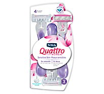 Schick Quattro For Women Razor Disposable Sensitive Skin - 3 Count