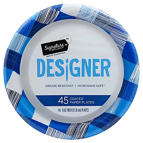 Signature SELECT Plates Paper Designer Coated 8.75 Inch Blue - 45 Count