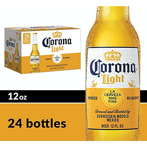 Corona Light Beer Mexican Lager 4.0% ABV Bottle - 24-12 Fl. Oz.