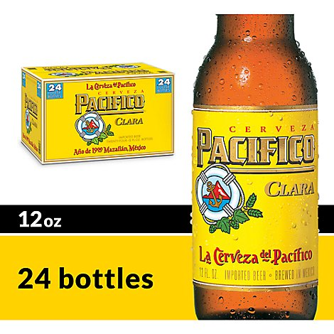 Pacifico Clara Mexican Lager Beer Bottles 4.4% ABV - 24-12 Fl. Oz.