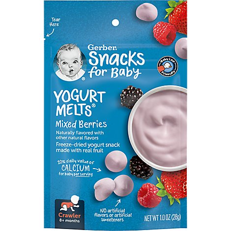 Gerber Graduates Yogurt Melts Freeze-Dried Yogurt & Fruit Snacks Mixed Berries - 1 Oz