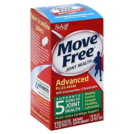 Schiff Move Free Advanced plus Dietary Supplemen with Glucosamine Chondroitin - 120 Count