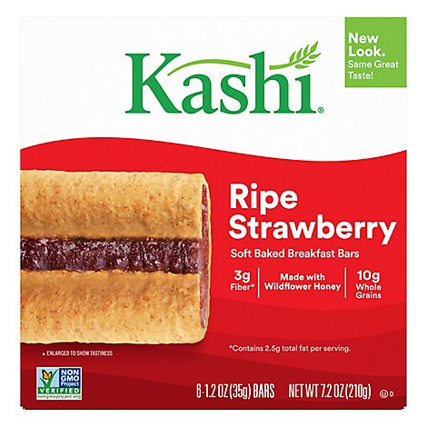 Kashi Soft Baked Breakfast Bars Ripe Strawberry 6 Count - 7.2 Oz