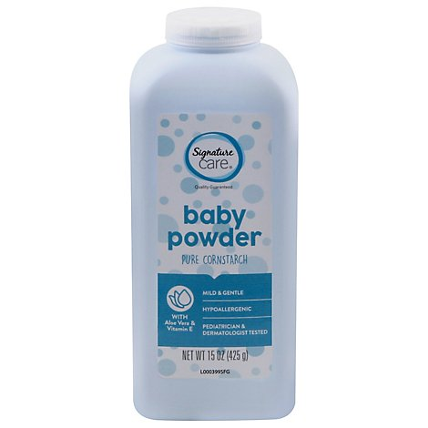 Signature Care Baby Powder Pure Cornstarch Mild & Gentle Aloe Vera & Vitamin E - 15 Oz