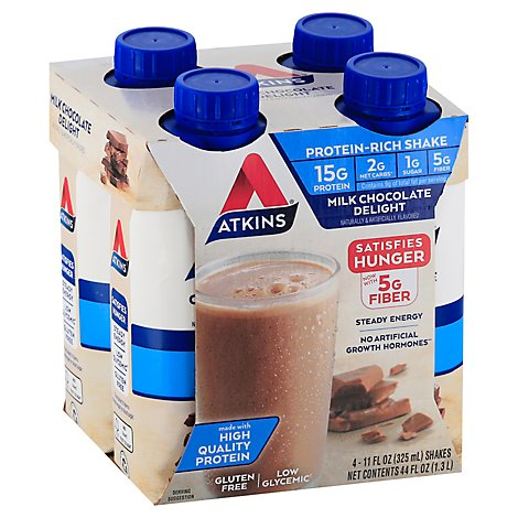 Atkins Shakes Protein Rich Milk Chocolate Delight - 4-11 Fl. Oz.