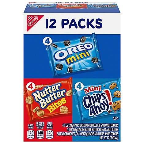NABISCO Mini Cookies Oreo Nutter Butter Bites Chips Ahoy! Variety Pack - 12-1 Oz