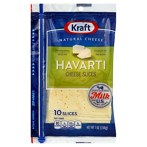Kraft Cheese Natural Slices Havarti - 7 Oz