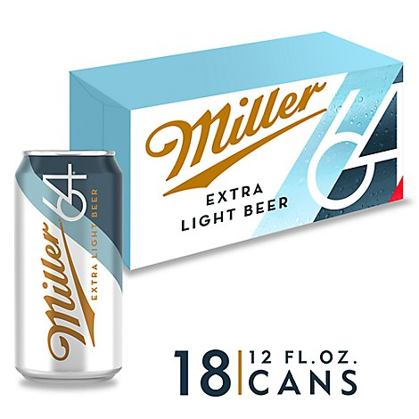 Miller64 Light Lager Beer Cans 2.8% ABV - 18-12 Fl. Oz.