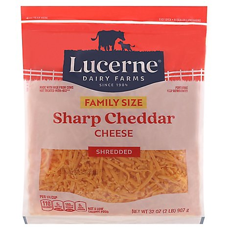 Lucerne Cheese Shredded Sharp Cheddar - 32 Oz