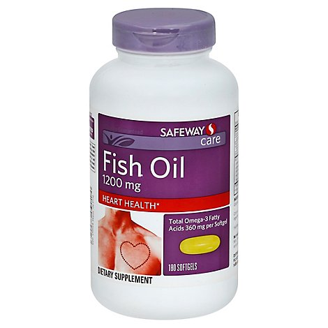 Signature Care Fish Oil 1200mg Omega 3 360mg Dietary Supplement Softgel - 180 Count