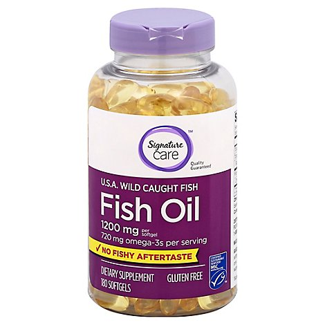 Signature Care Fish Oil 1200mg Omega 3 720mg Dietary Supplement Softgel - 180 Count