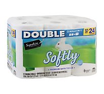 Signature Care Bathroom Tissue Premium Softly Double Roll 2-Ply Wrapper - 12 Count