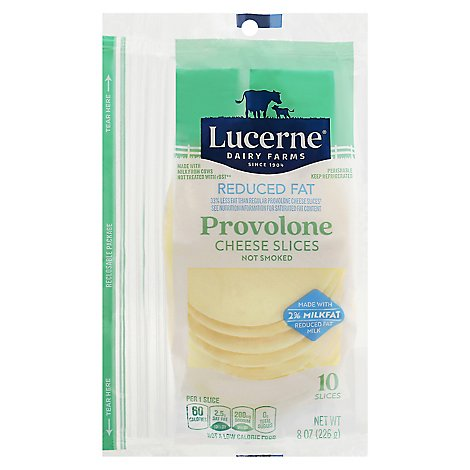 Lucerne Cheese Natural Sliced Provolone Reduced Fat 2% - 8 Oz