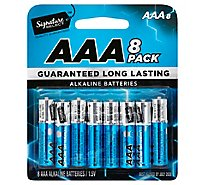 Signature SELECT Batteries Alkaline AAA Guaranteed Long Lasting - 8 Count