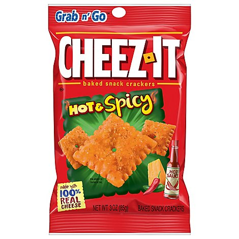 Cheez-It Grab n Go! Crackers Baked Snack Hot & Spicy - 3 Oz