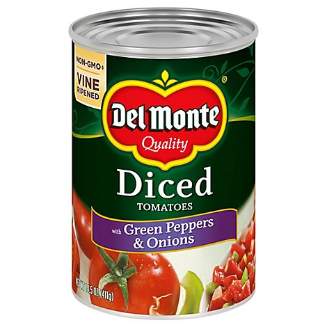 Del Monte Tomatoes Diced California with Green Pepper & Onion - 14.5 Oz