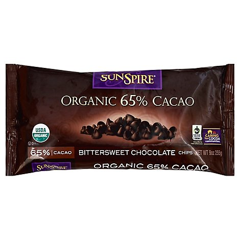 SunSpire Baking Chips Organic 65% Cacao Bittersweet Chocolate - 9 Oz
