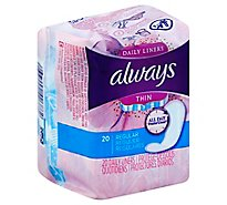 Always Daily Liners Thin Regular Unscented - 20 Count