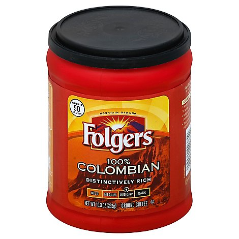 Folgers Coffee Ground Medium-Dark Roast Colombian Dintinctively Rich - 10.3 Oz