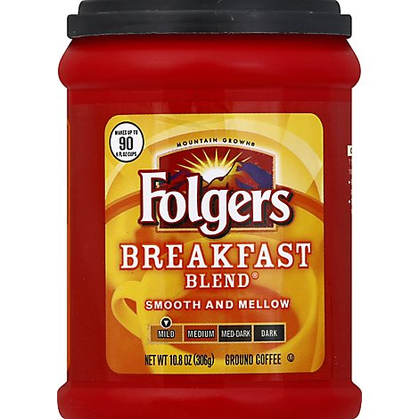 Folgers Coffee Ground Mild Roast Breakfast Blend - 10.8 Oz