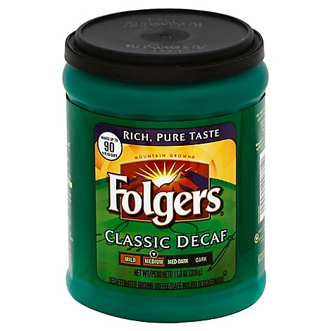 Folgers Coffee Ground Medium Roast Classic Decaf - 11.3 Oz
