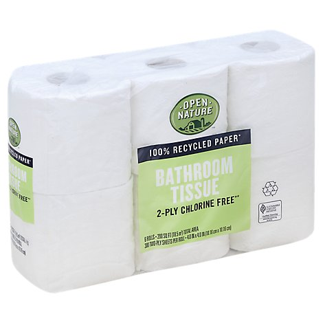 Open Nature Bathroom Tissue 2-Ply Chlorine Free - 6 Roll