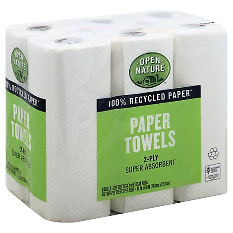 Open Nature Paper Towels 2 Ply - 6 Count