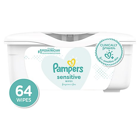 Pampers Sensitive Baby Wipes Perfume Free Tub - 64 Count