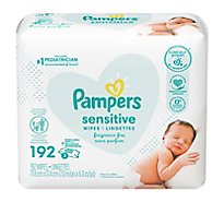 Pampers Sensitive Baby Wipes Perfume Free Refill 3 Pack - 192 Count