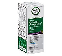 Signature Care Allergy Relief Childrens 24 Hour Cetirizine Hydrochloride Grape Flavor - 4 Fl. Oz.