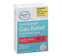 Signature Care Gas Relief Simethicone 125mg Extra Strength Cherry Chewable Tablet - 18 Count