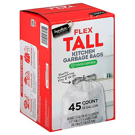Signature SELECT Flex Tall Kitchen Bags With Drawstring 13 Gallon - 45 Count